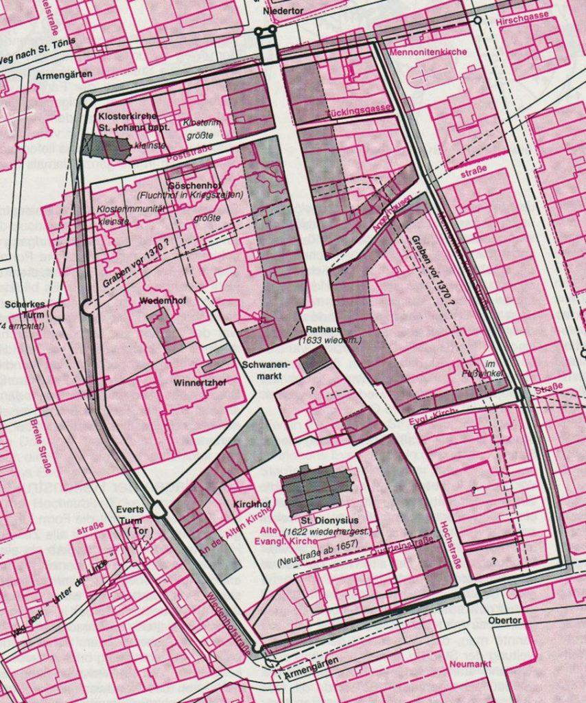 Plan (Ausschnitt): Georg Opdenberg, die Heimat, Jg. 68, 1997, Seite 126