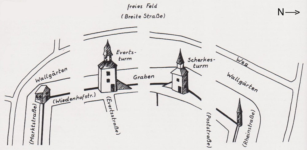 Plan (Ausschnitt): Georg Opdenberg, die Heimat, Jg. 68, 1997, Seite 122