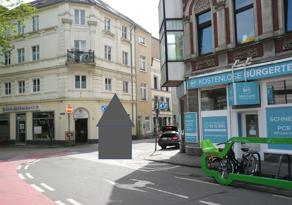 Standort des Evertsturmes an der Einmündung zur Wiedenhofstraße | Bildurheber: Julia Obladen-Kauder